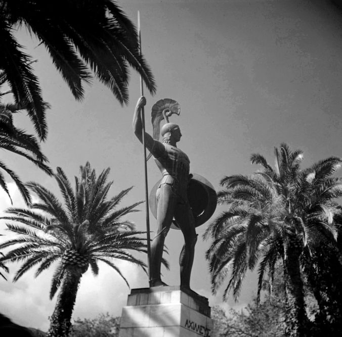 Achilles as guardian of the palace in the gardens of the Achilleion