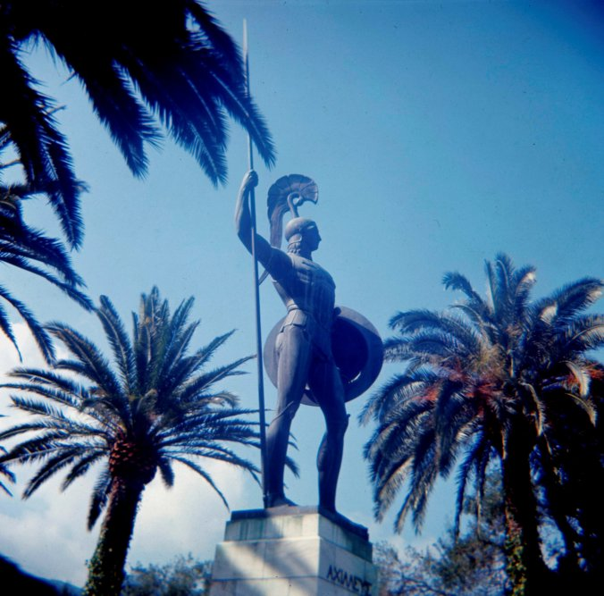 Achilles as guardian of the palace in the gardens of the Achilleion.
