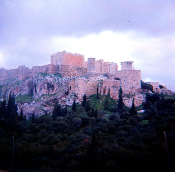 On the coach to the Acropolis.