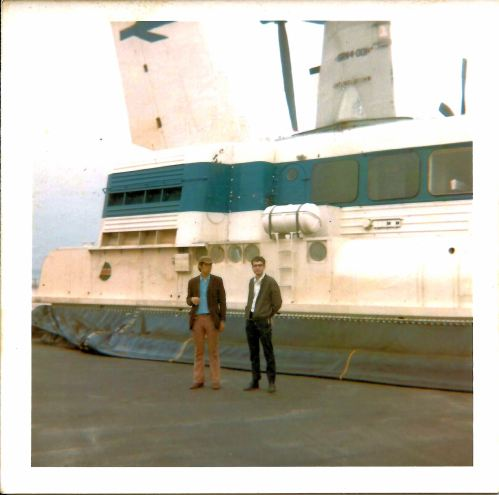 Hovercraft Boulogne. Me with Keith. 12th July 1969.