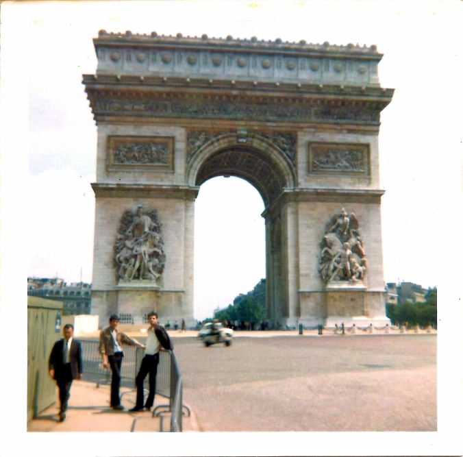 With Keith and Pete at L'Arc de Triomphe. 13th July 1969.