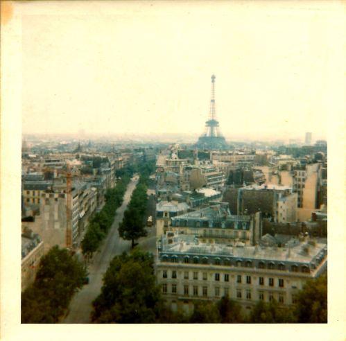 Le Tour Eiffel from L'Arc de Triomphe. 13th July 1969.