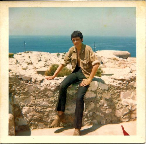 Pete at clifftop campsite, Marseille. 19th July 1969.