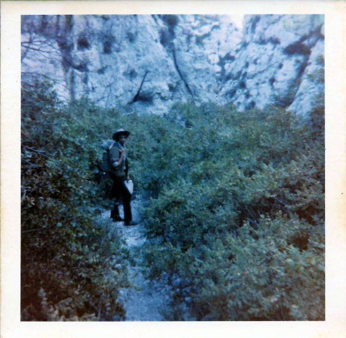Pete in the hills of Marseille in shadow. 19th July 1969.