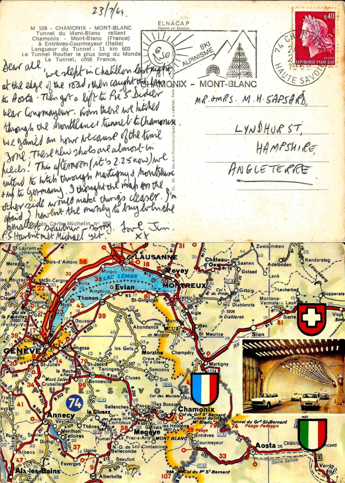 The Open Road 23rd July 1969 – A Postcard Home. Dear all, we slept in Chatillon last night, at the edge of the road, then caught the bus to Aosta. Then got a lift to Pré S. Didier near Courmayeur. From there we hitched through the Montblanc Tunnel to Chamonix. We gained an hour because of the time zone. These new shoes are almost in pieces! This afternoon (it's 2.25 now) we intend to hitch through Martigny & Montreux & up to Germany. I thought the map on the other side would make things clearer. I'm afraid I haven't the money to buy even the smallest souvenir – sorry. Love Jim xx P.S. Haven't met Michael yet. (My brother was hitchhiking around Europe at the same time. I believe we may have been in the same street on the same day but never saw each other.) https://witness.theguardian.com/assignment/55390806e4b07116b5ee4161/1490715