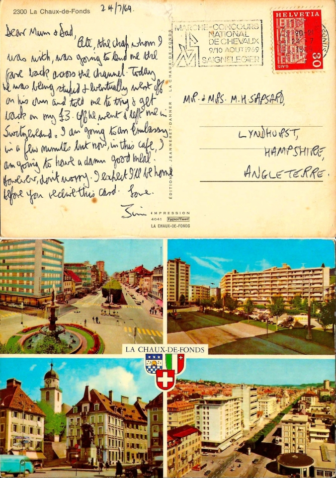 The Open Road 24th July 1969 – A Postcard Home. Dear Mum & Dad, Pete, the chap whom I was with, was going to lend me the fare back across the Channel. Today he was being stupid & eventually went off on his own and told me to try & get back on my £3. Off he went & left me in Switzerland. I am going to an Embassy in a few minutes but now, in this café, I am going to have a damn good meal. However, don't worry. I expect I'll be home before you receive this card. Love, Jim. https://witness.theguardian.com/assignment/55390806e4b07116b5ee4161/1490719