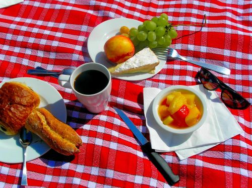 Castelnau des Fieumarcon Breakfast. A somewhat haphazard but nevertheless delicious petit déjeuner on the lawn at Castelnau des Fieumarcon on the second morning of a three day wedding celebration. https://witness.theguardian.com/assignment/5527a750e4b04e9a7cbb7779/1486978