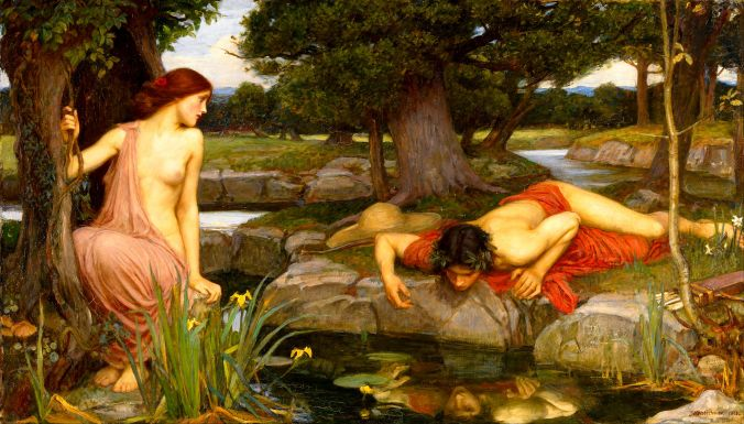 Echo And Narcissus (Digitally Enhanced) by John William Waterhouse (1903). Born January/April 1849; died 10 February 1917.