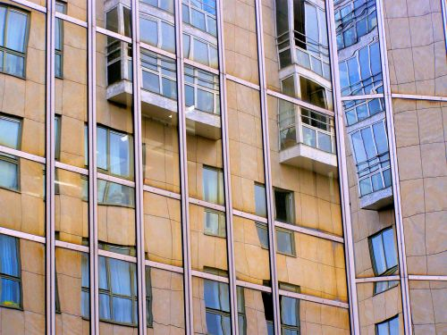 The Illusion. Balconies trapped behind reflective glass or trapped opposite it? Or both, in Rue Rambuteau, 75004 Paris. https://witness.theguardian.com/assignment/552e3c5be4b0dfcbad6c3d9f/1477758