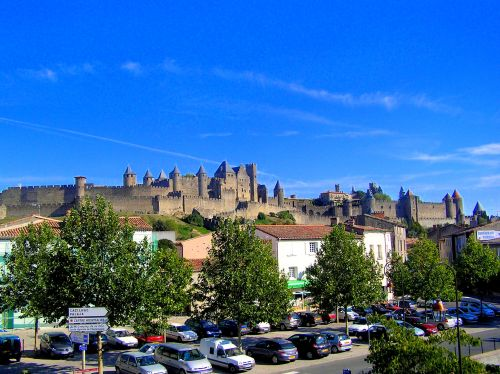 Carcassonne, Aude, Languedoc-Roussillon, France from the 1991 film 'Robin Hood: Prince of Thieves'. The film, starring Kevin Costner and Mary Elizabeth Mastrantonio, was filmed in England but the longshots of Nottingham Castle were of the fortified city of Carcassonne in the south of France. https://witness.theguardian.com/assignment/554f8cbce4b0c0082b0da72b/1517637