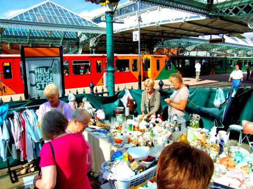 Tynemouth Station. The fascinating art, crafts and bric-a-brac weekend market in the station building at Tynemouth Station in North Tyneside. https://witness.theguardian.com/assignment/54f71d23e4b041160571f72b/1513312