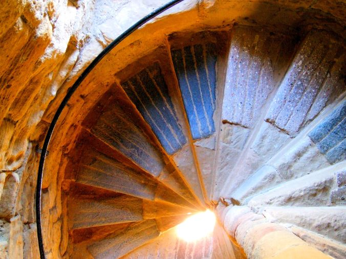Tynemouth Priory. The blue triangular steps of the spiral staircase in the castle within the grounds of the early 7th century Benedictine Priory at Tynemouth. https://witness.theguardian.com/assignment/55718213e4b019d982cba15c/1560797